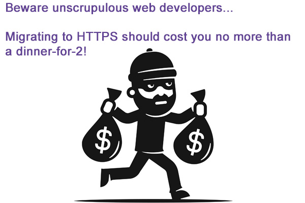 Moving from HTTP to HTTPS can be done at a very affordable cost.  Not having it done by a website developer clued up on the move to HTTPS can cost you a lot more!