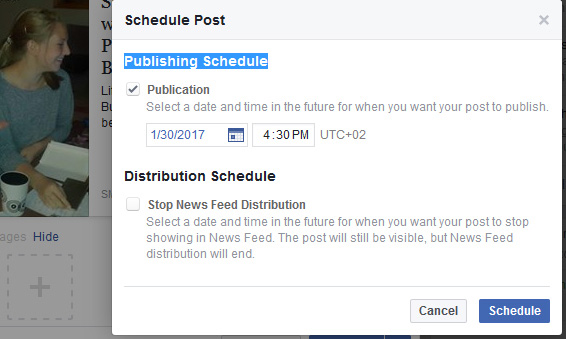 Prioritise your time management and schedule Facebook Posts in advance each week, indicating the date and time you want the Post released.